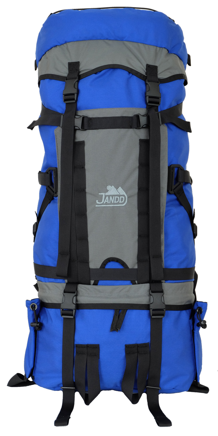 Custom Back Pack Blue/Gray Front View